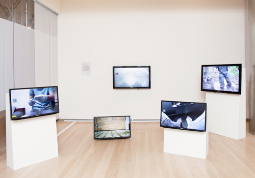 A.K. Burns, Touch Parade, 2011. Installation view. ©International Center of Photography, 2013. Photograph by John Berens.